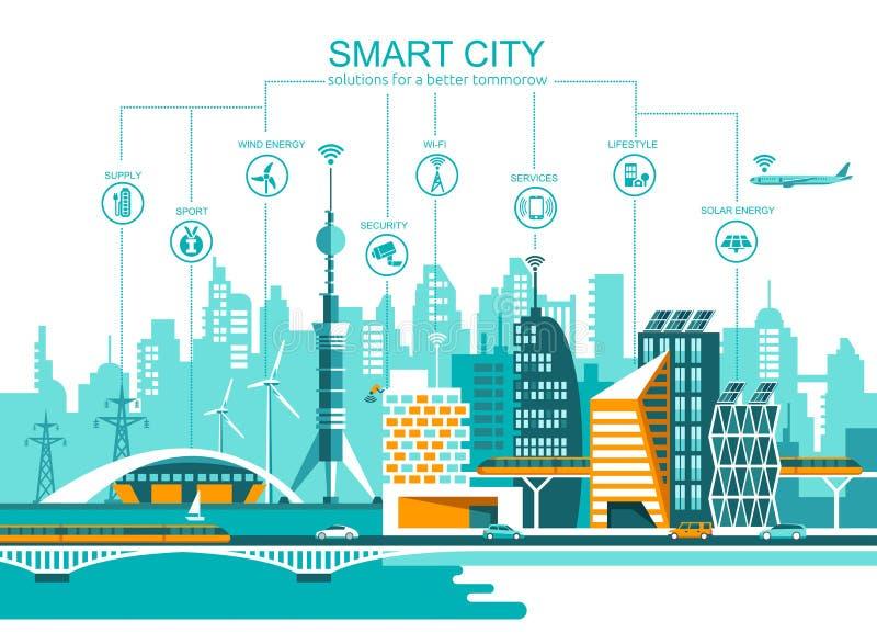 Έξυπνη πόλη επίπεδη υπόβαθρο εικονικής παράστασης πόλης με το διαφορετικά εικονίδιο και τα στοιχεία αρχιτεκτονική σύγχρονη απεικόνιση αποθεμάτων