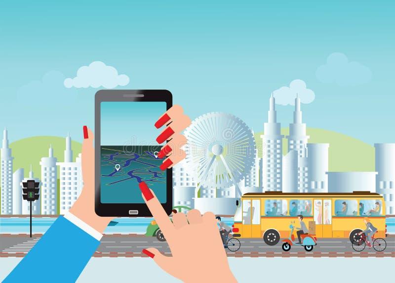Έξυπνη πόλη και έξυπνη τηλεφωνική εφαρμογή που χρησιμοποιούν τις πληροφορίες θέσης διανυσματική απεικόνιση