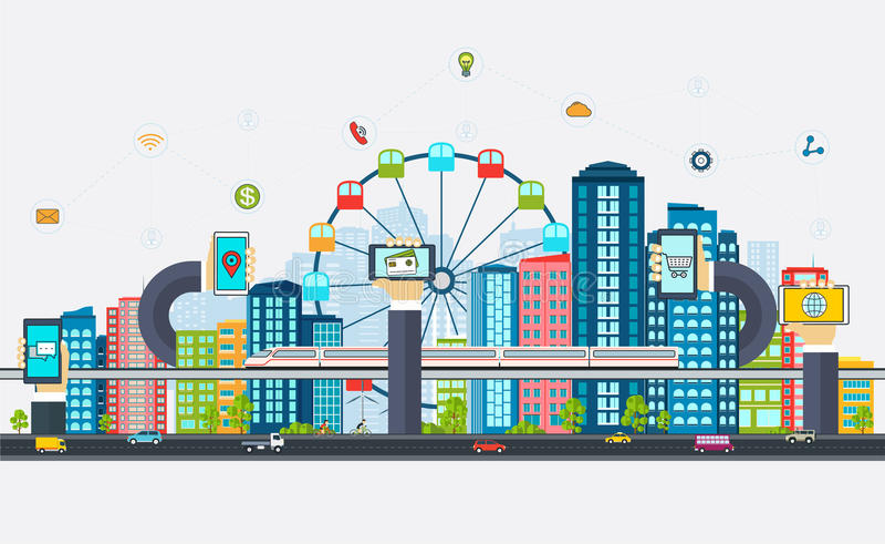 Έξυπνη πόλη με τα επιχειρησιακά σημάδια διανυσματική απεικόνιση