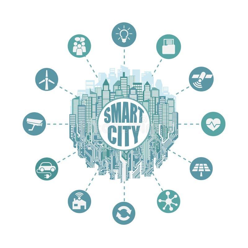 Έξυπνη πόλη με τις προηγμένες έξυπνες υπηρεσίες, κοινωνική δικτύωση, το Διαδίκτυο των πραγμάτων, πίνακας κυκλωμάτων απεικόνιση αποθεμάτων