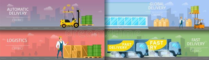 Έξυπνη συλλογή συντήρησης αποθηκών εμπορευμάτων εργοστασίων απεικόνιση αποθεμάτων