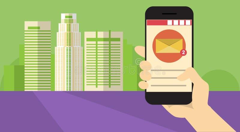 Έξυπνη τηλεφωνική εφαρμογή κυττάρων λαβής χεριών σε απευθείας σύνδεση έμβλημα επικοινωνίας δικτύων συνομιλίας μηνυμάτων απεικόνιση αποθεμάτων