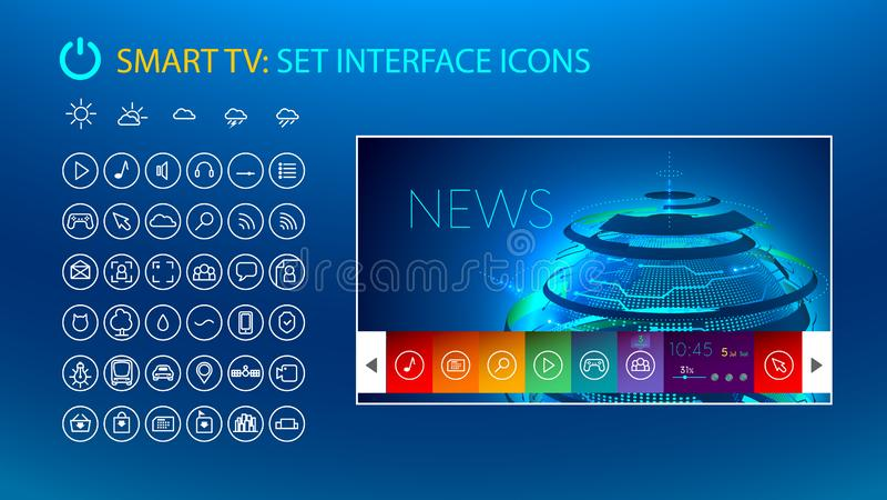 Έξυπνη TV Καθορισμένα εικονίδια για την έξυπνη διεπαφή TV διανυσματική απεικόνιση