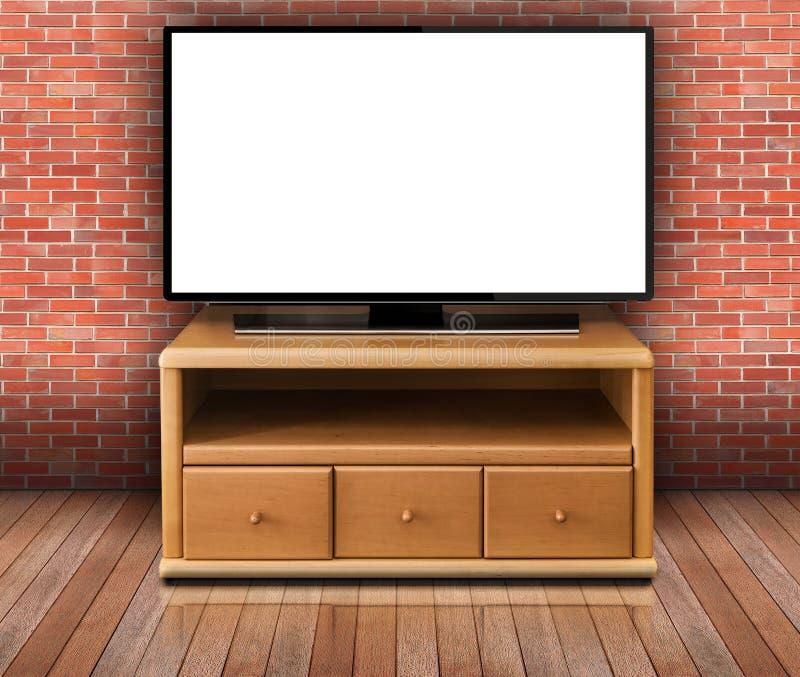 Έξυπνη TV με την κενή οθόνη στο σύγχρονο καθιστικό στοκ φωτογραφία με δικαίωμα ελεύθερης χρήσης