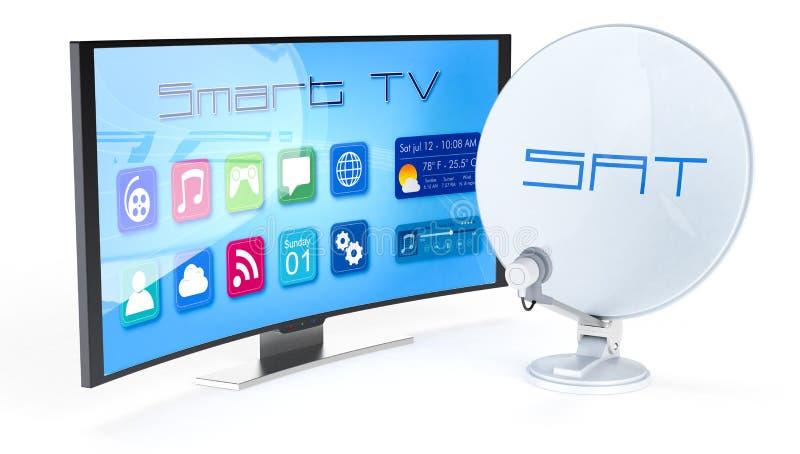 Έξυπνη TV με το δορυφορικό πιάτο απεικόνιση αποθεμάτων