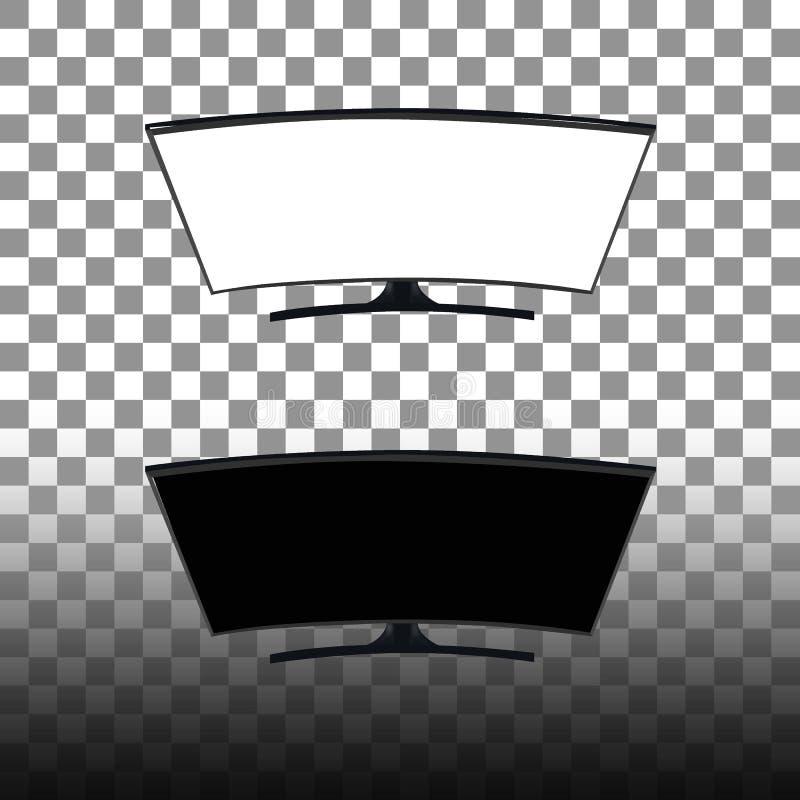 Έξυπνη TV οθόνης καμπυλών γραπτή κενή Υπόβαθρο στη διανυσματική γραφική παράσταση ανασκόπηση διαφανής απεικόνιση αποθεμάτων