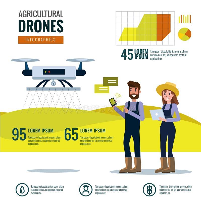 Έξυπνος αγρότης και γεωργικό infographics κηφήνων διανυσματική απεικόνιση