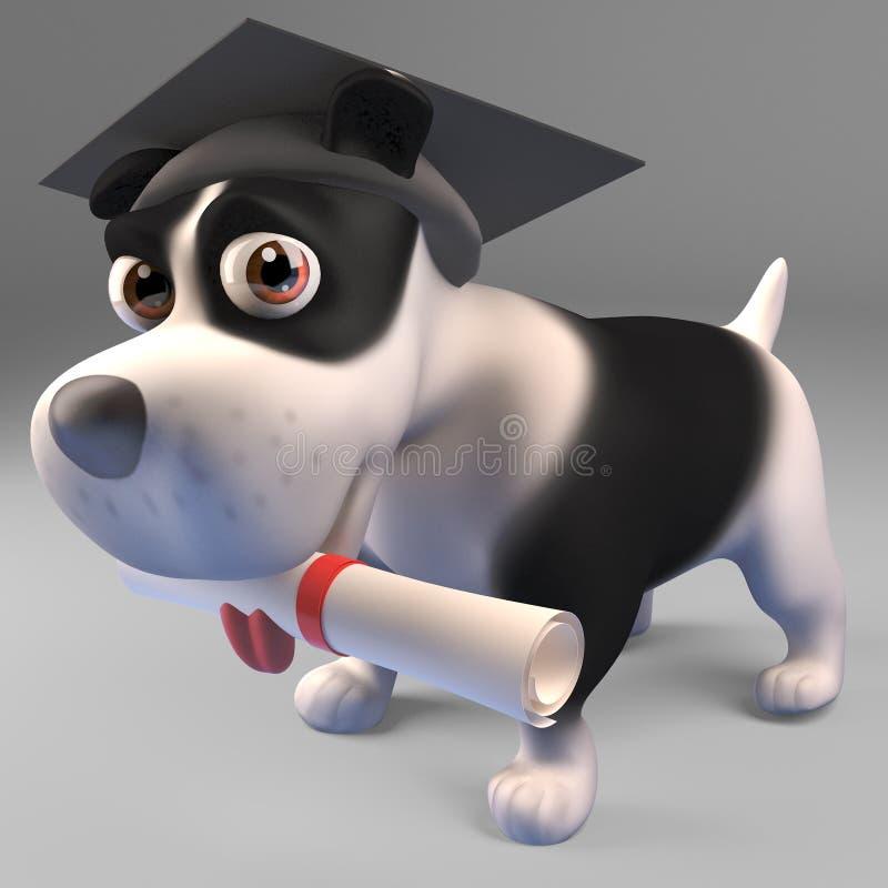 Έξυπνος γραπτός πτυχιούχος σκυλιών κουταβιών με ένα δίπλωμα, τρισδιάστατη απεικόνιση διανυσματική απεικόνιση