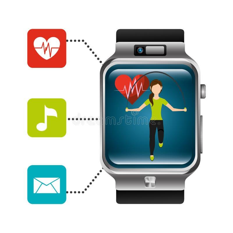 Έξυπνος ρολογιών υγιής τρόπος ζωής εφαρμογής ποσοστού καρδιών γυναικών πηδώντας απεικόνιση αποθεμάτων