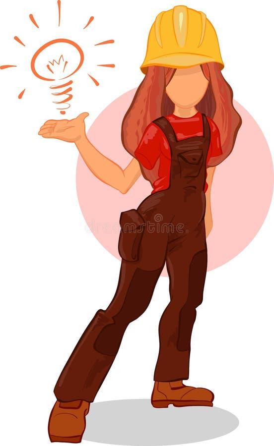 Έξυπνος χαρακτήρας κινουμένων σχεδίων ιδέας κοριτσιών εργαζομένων Ο οικοδόμος Handywoman έχει μια καλή ιδέα διανυσματική απεικόνιση