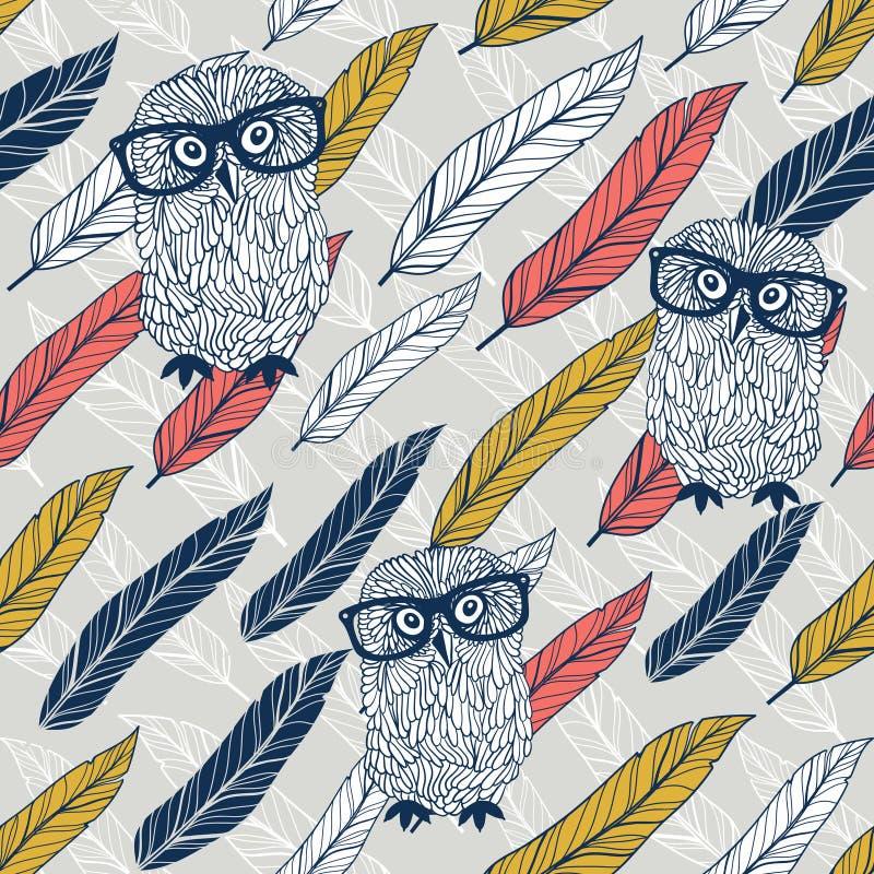 Έξυπνο άνευ ραφής υπόβαθρο κουκουβαγιών με τα ζωηρόχρωμα φτερά διανυσματική απεικόνιση