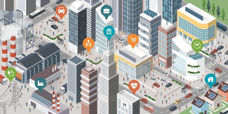 Έξυπνο έμβλημα πόλεων διανυσματική απεικόνιση