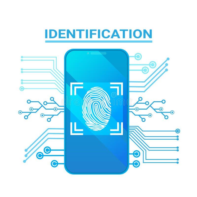 Έξυπνο δακτυλικό αποτύπωμα ανίχνευσης τηλεφωνικού προσδιορισμού σύγχρονο σύστημα προστασίας πρόσβασης και ασφάλειας απεικόνιση αποθεμάτων