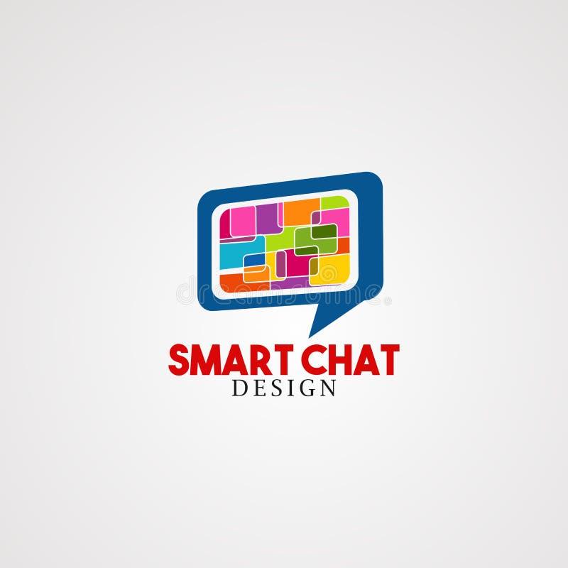 Έξυπνο διάνυσμα, εικονίδιο, στοιχείο, και πρότυπο λογότυπων συνομιλίας για την επιχείρηση ελεύθερη απεικόνιση δικαιώματος