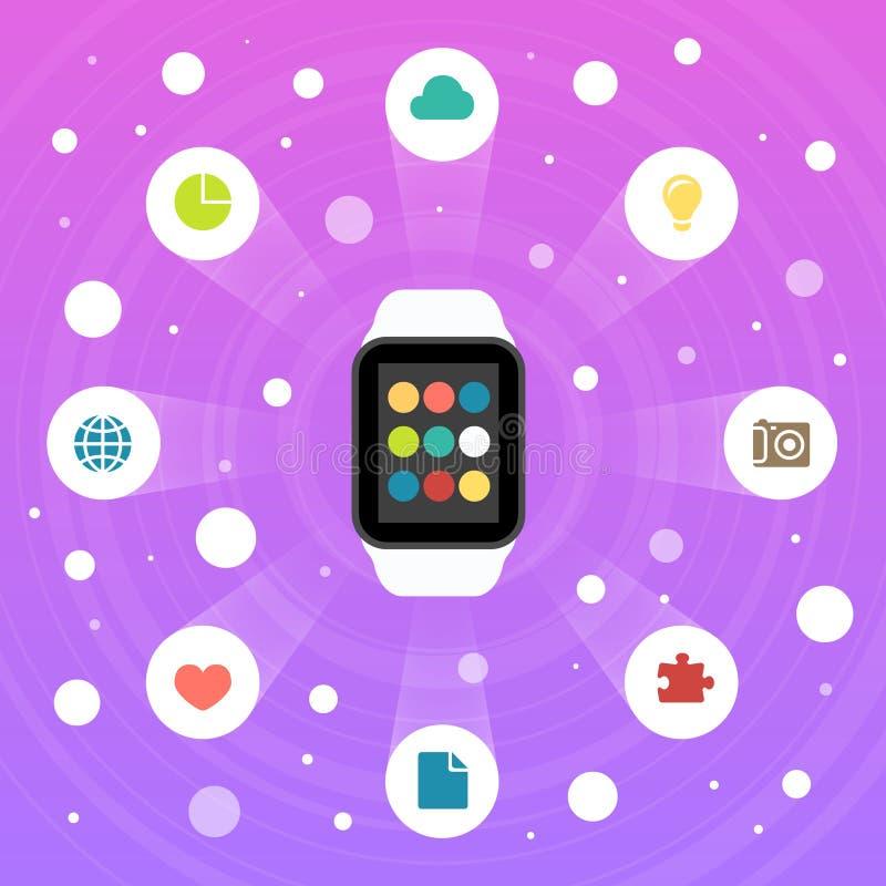 Έξυπνο εικονίδιο σχεδίου ρολογιών διανυσματικό επίπεδο με τα εικονίδια apps απεικόνιση αποθεμάτων