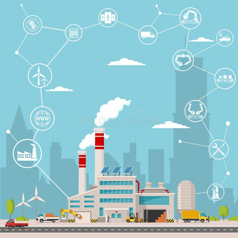 Έξυπνο εργοστάσιο και γύρω από το εικονίδια Έξυπνο εργοστάσιο ή βιομηχανικό Διαδίκτυο των πραγμάτων επίσης corel σύρετε το διάνυσ διανυσματική απεικόνιση