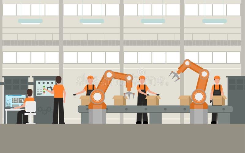 Έξυπνο εργοστάσιο χρώματος κινούμενων σχεδίων μέσα στο εσωτερικό διάνυσμα ελεύθερη απεικόνιση δικαιώματος