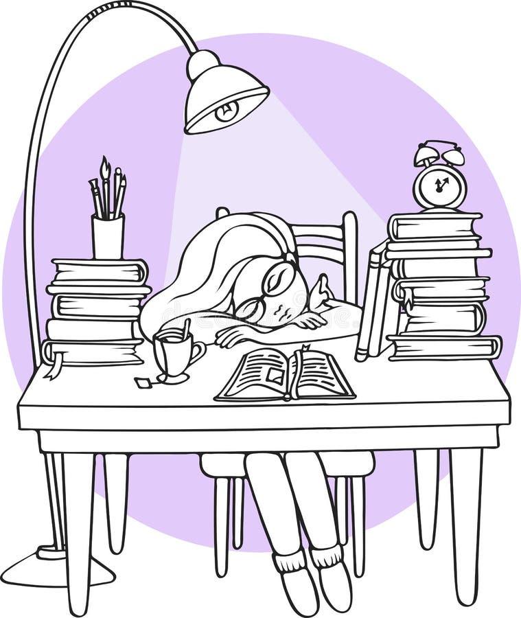 Έξυπνο κορίτσι που μελετά τη νύχτα να κοιμηθεί στο γραφείο με τα βιβλία - διανυσματική απεικόνιση διανυσματική απεικόνιση
