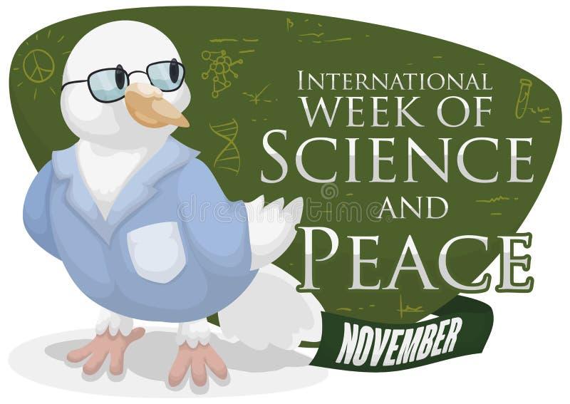 Έξυπνο περιστέρι που αναπτύσσει τις επιστημονικές μελέτες για την εβδομάδα επιστήμης και ειρήνης, διανυσματική απεικόνιση διανυσματική απεικόνιση