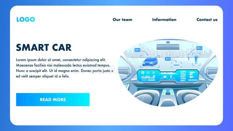 Έξυπνο πιλοτήριο αυτοκινήτων Διάνυσμα μεταφορών Selfdriving απεικόνιση αποθεμάτων