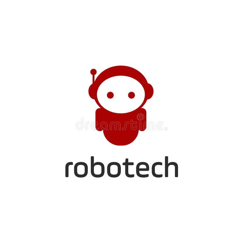 Έξυπνο πρότυπο λογότυπων ρομπότ Χαριτωμένο logotype που απομονώνεται στο άσπρο υπόβαθρο Μελλοντικό θέμα τεχνολογιών Διανυσματικό  διανυσματική απεικόνιση