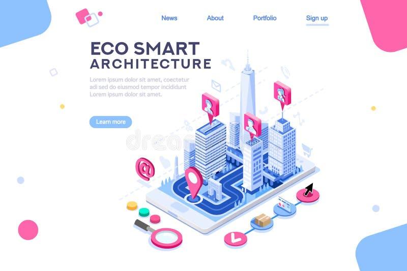 Έξυπνο πρότυπο πόλεων Eco για την παρουσίαση διανυσματική απεικόνιση