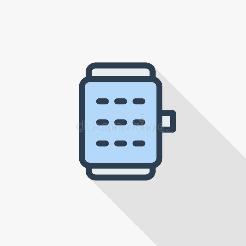 Έξυπνο ρολογιών σύγχρονο κινητό συσκευών λεπτό εικονίδιο χρώματος γραμμών επίπεδο Γραμμικό διανυσματικό σύμβολο Ζωηρόχρωμο μακροχ διανυσματική απεικόνιση
