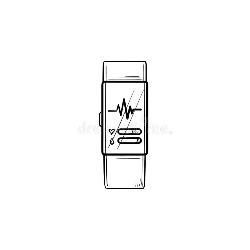 Έξυπνο ρολόι με συρμένο εικονίδιο περιλήψεων ποσοστού καρδιών το χέρι doodle απεικόνιση αποθεμάτων