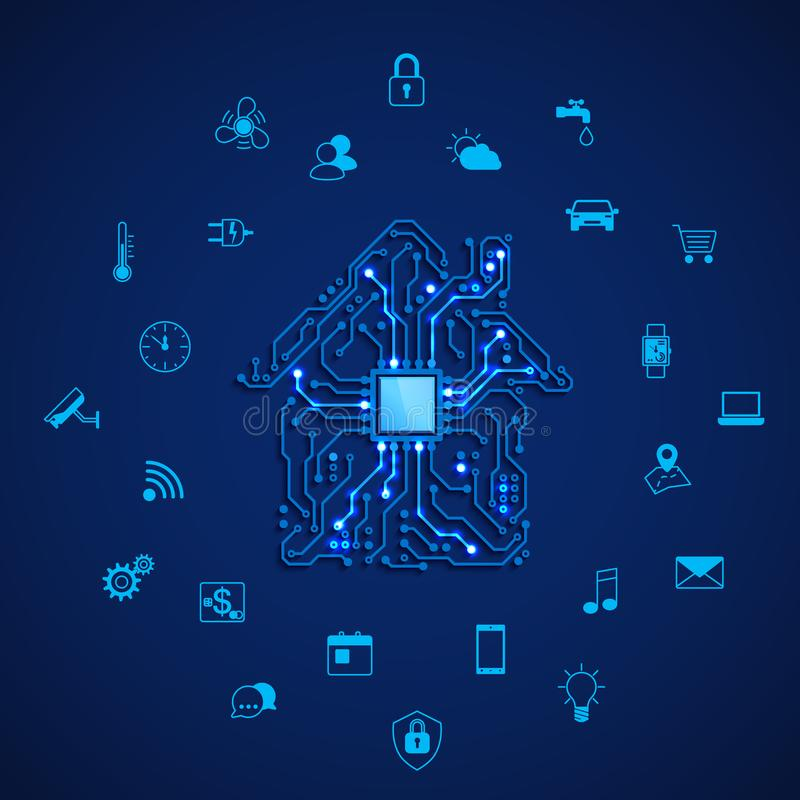 Έξυπνο σπίτι ή έννοια IOT Έξυπνο σπίτι τηλεχειρισμού Κύκλωμα σπιτιών και έξυπνα εικονίδια εγχώριων συσκευών Διανυσματική απεικόνι απεικόνιση αποθεμάτων