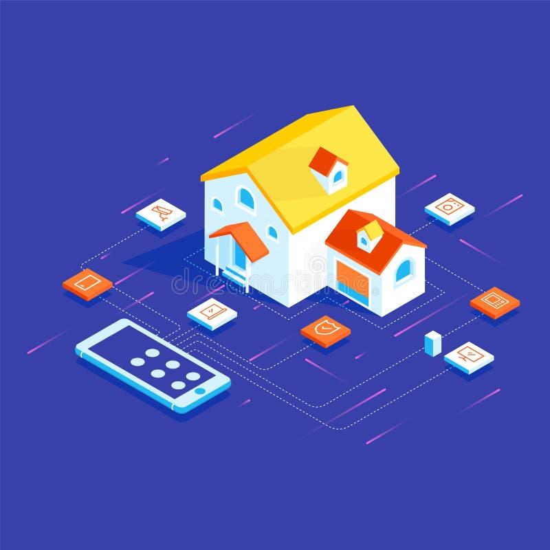 Έξυπνο σπίτι που συνδέονται και έλεγχος με τις συσκευές τεχνολογίας διανυσματική απεικόνιση
