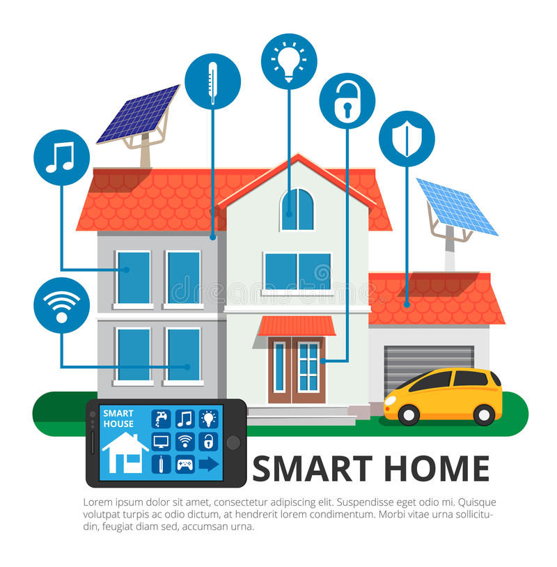 Έξυπνο σπίτι στο σύγχρονο επίπεδο ύφος σχεδίου, τεχνολογία απεικόνισης διανυσματική απεικόνιση