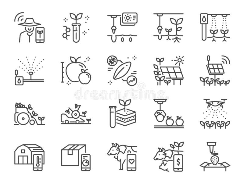 Έξυπνο σύνολο εικονιδίων γραμμών καλλιέργειας Συμπεριλαμβανόμενα εικονίδια ως αγρότη, γεωργία, φύτευση, app, σε απευθείας σύνδεση απεικόνιση αποθεμάτων