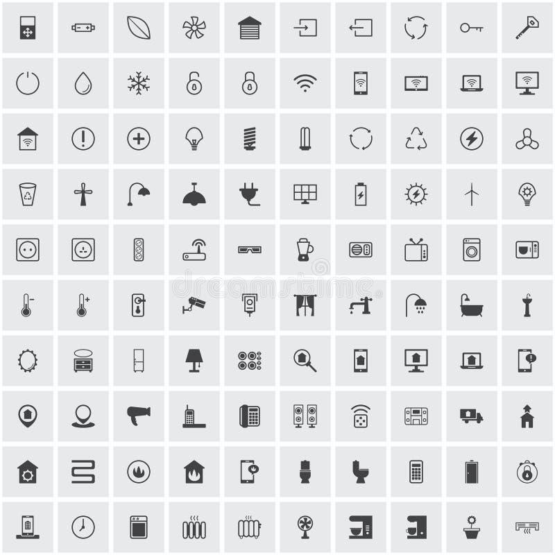 Έξυπνο σύνολο εγχώριων εικονιδίων απεικόνιση αποθεμάτων