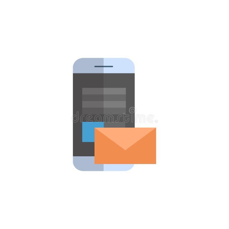 Έξυπνο τηλέφωνο κυττάρων με τον αγγελιοφόρο επιστολών ηλεκτρονικού ταχυδρομείου εικονιδίων φακέλων ελεύθερη απεικόνιση δικαιώματος