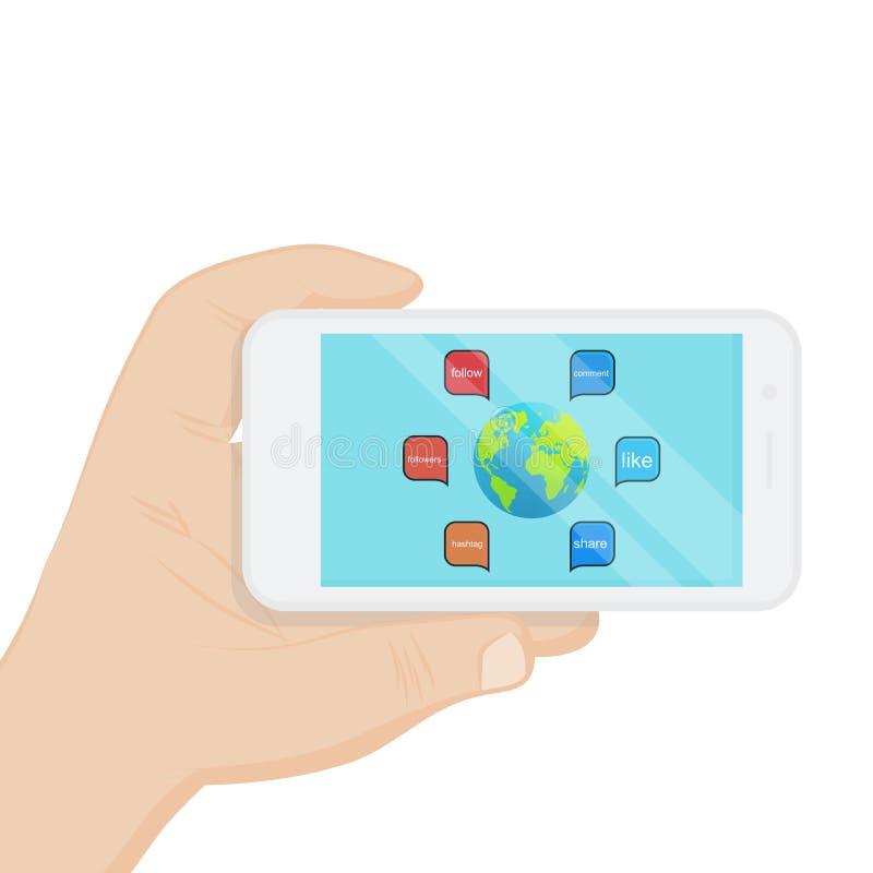 Έξυπνο τηλέφωνο με το κοινωνικό εικονίδιο μέσων, διανυσματικό σχέδιο απεικόνισης ελεύθερη απεικόνιση δικαιώματος