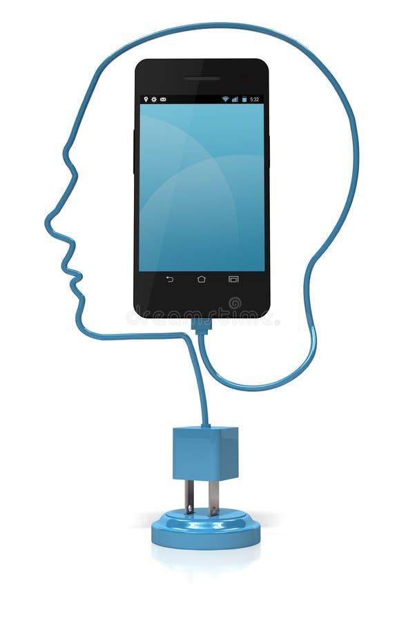 Έξυπνο τηλεφωνικό κεφάλι έξυπνο διανυσματική απεικόνιση