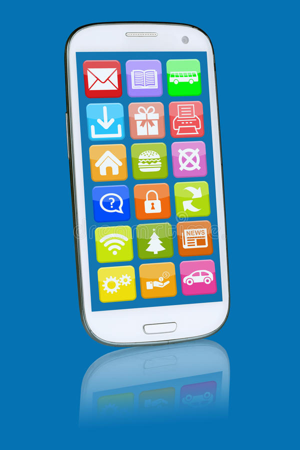 Έξυπνο τηλέφωνο ή κινητός με την εφαρμογή apps app προγραμμάτων διανυσματική απεικόνιση