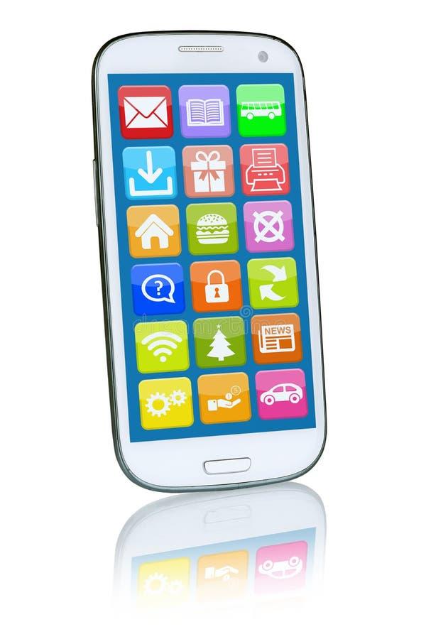 Έξυπνο τηλέφωνο ή κινητός με την εφαρμογή apps app απεικόνιση αποθεμάτων