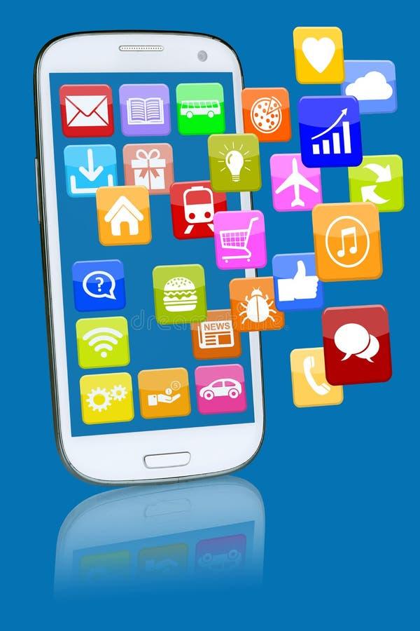 Έξυπνο τηλέφωνο ή κινητό τηλέφωνο με την εφαρμογή apps α προγραμμάτων απεικόνιση αποθεμάτων