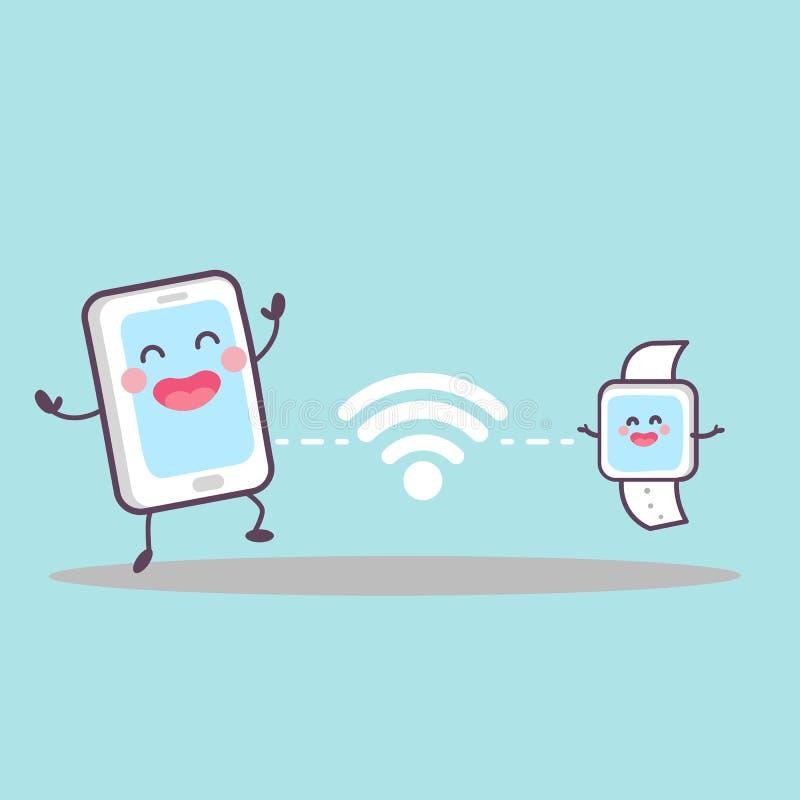 Έξυπνο τηλέφωνο και έξυπνο ρολόι απεικόνιση αποθεμάτων