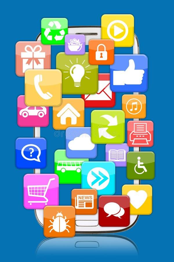 Έξυπνο τηλέφωνο κινητό με την εφαρμογή apps app για Διαδίκτυο commun απεικόνιση αποθεμάτων