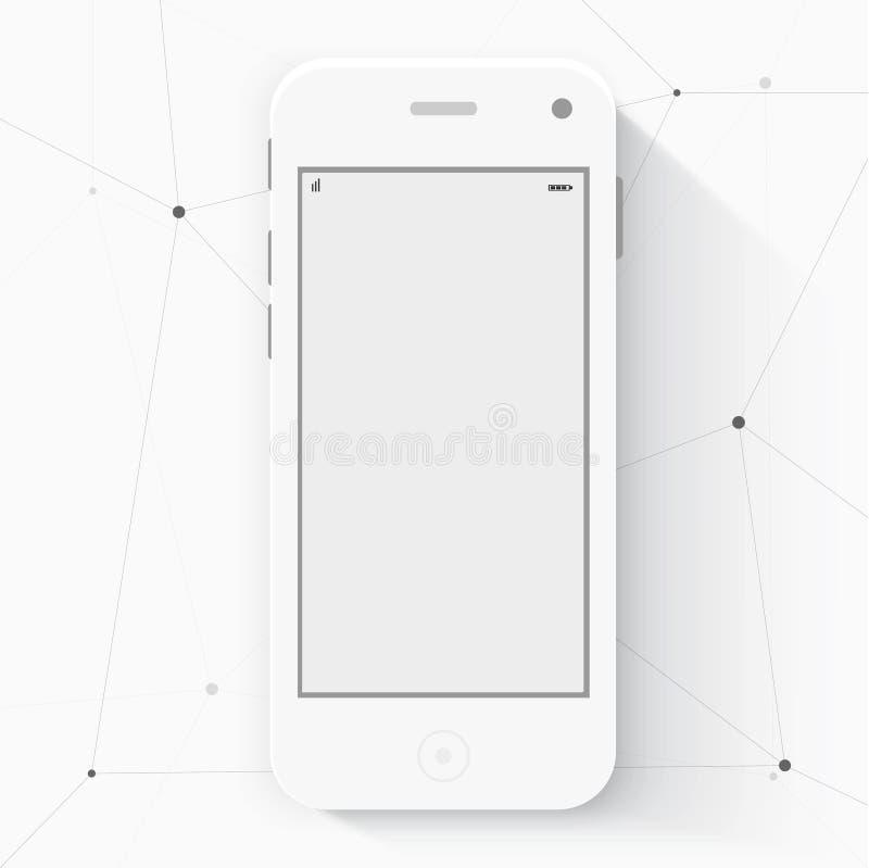Έξυπνο τηλέφωνο με απομονωμένος Ρεαλιστικό λευκό ελεύθερη απεικόνιση δικαιώματος