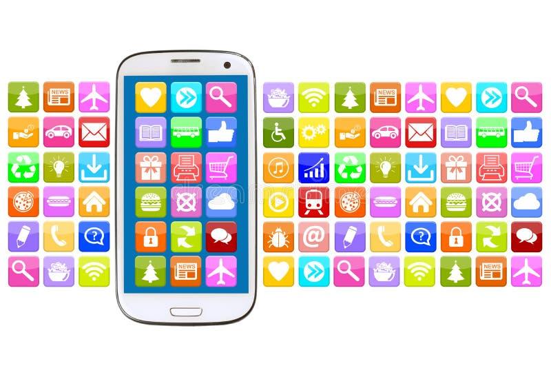 Έξυπνο τηλέφωνο με την εφαρμογή apps app για Διαδίκτυο απεικόνιση αποθεμάτων
