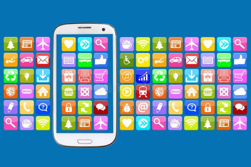 Έξυπνο τηλέφωνο με την εφαρμογή apps app για την επικοινωνία Διαδικτύου ελεύθερη απεικόνιση δικαιώματος