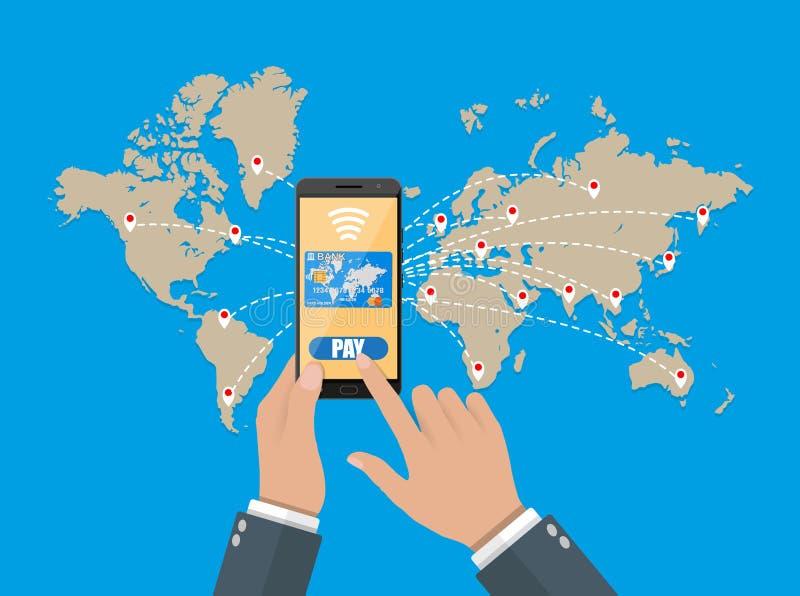Έξυπνο τηλέφωνο με την πίστωση Κινητές πληρωμές απεικόνιση αποθεμάτων