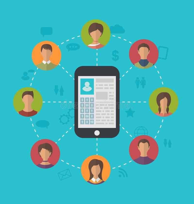 Έξυπνο τηλέφωνο με το κοινωνικό δίκτυο σελίδων σχεδιαγράμματος και γύρω από το friendsh απεικόνιση αποθεμάτων