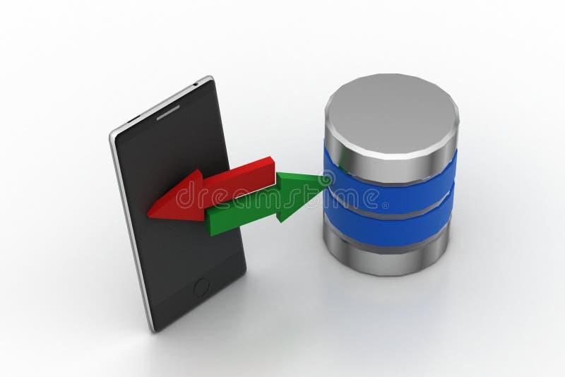 Έξυπνο τηλέφωνο που μοιράζεται τα στοιχεία στον κεντρικό υπολογιστή διανυσματική απεικόνιση