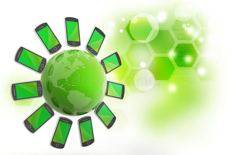 Έξυπνο τηλέφωνο σε όλο τον κόσμο απεικόνιση αποθεμάτων