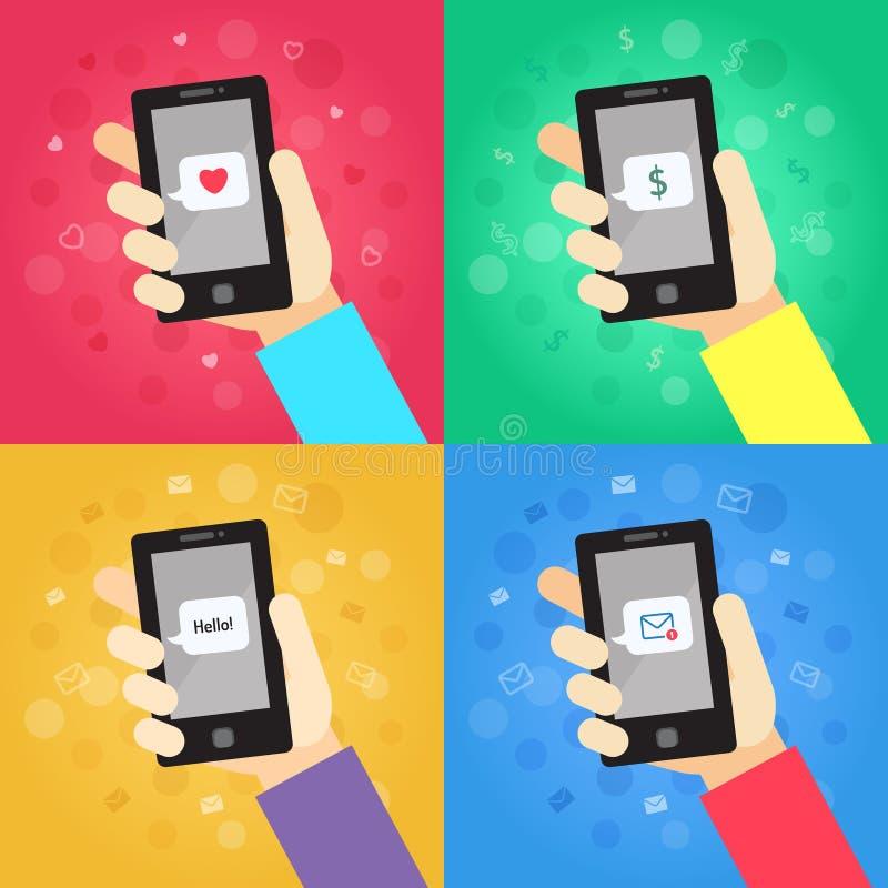 Έξυπνο τηλέφωνο υπό εξέταση με το μήνυμα (αγάπη, χρήματα, γειά σου! , διανυσματικές απεικονίσεις φακέλων) καθορισμένες απεικόνιση αποθεμάτων