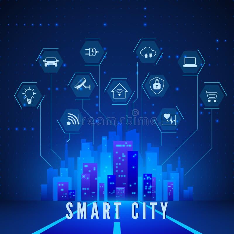 Έξυπνο τοπίο πόλεων και παρακολούθησης και ελέγχου συστημάτων εικονίδια καθορισμένα Σύγχρονη έξυπνη έννοια πόλεων στα μπλε χρώματ διανυσματική απεικόνιση